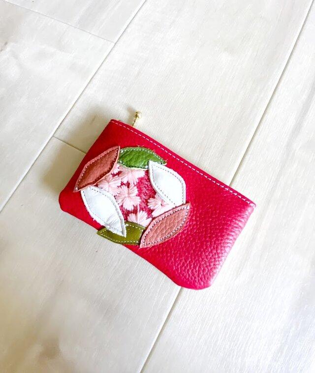 Sakura革小物 ポーチ 本革 レッド &クロコ型押し ホワイトイエロー w/ さくら チュールの画像1枚目