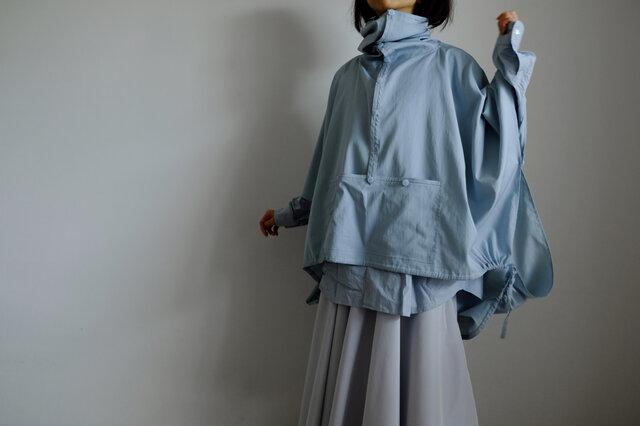 春の新作・セーラーカラーのアノラックポンチョ / レーヨン コットン ポリエステル 【 ブルーグリーン 】<受注製作>の画像1枚目