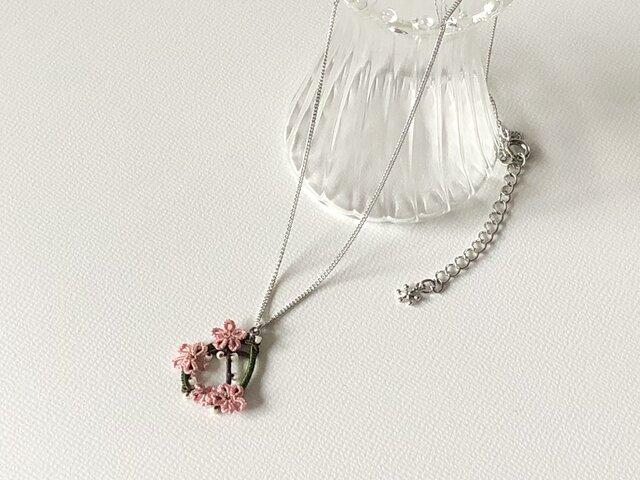 季節の花を身につけて〈山桜のネックレス〉*タティングレース*の画像1枚目
