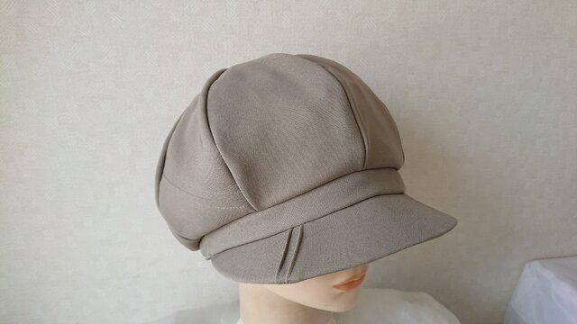 魅せる帽子☆ふんわり♪ステッチ&ピンタックのキャスケット~モスグリーンの画像1枚目