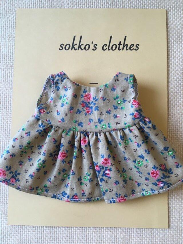 sokko's Dress 黄土色に小花柄のワンピースの画像1枚目