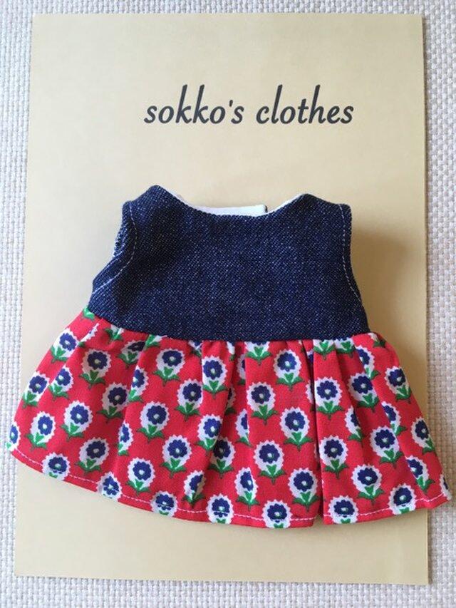 sokko's Dress 濃紺デニムと赤地に紺色花柄のワンピースの画像1枚目