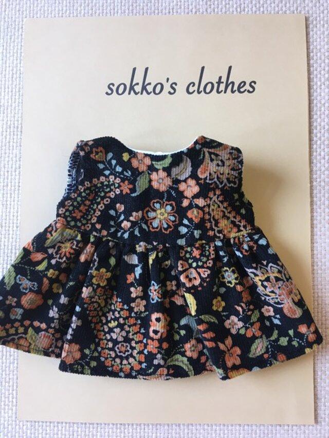 sokko's Dress 黒地コーデュロイに花柄のワンピースの画像1枚目