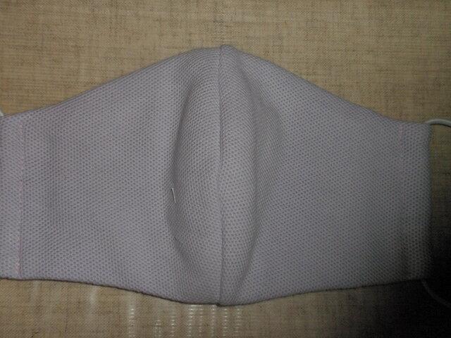 綿ニット生地で立体マスク女物 インナーポケット付き ラベンダー色の画像1枚目