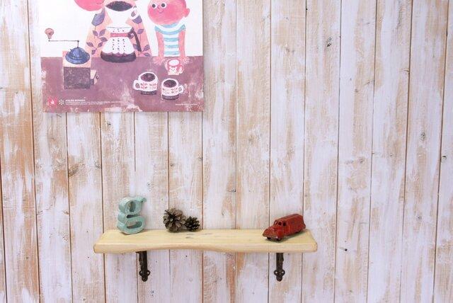アンティーク加工の棚板 55㎝ (クリームイエロー))の画像1枚目
