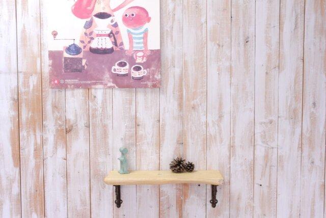 アンティーク加工の棚板 42㎝ (クリームイエロー)の画像1枚目