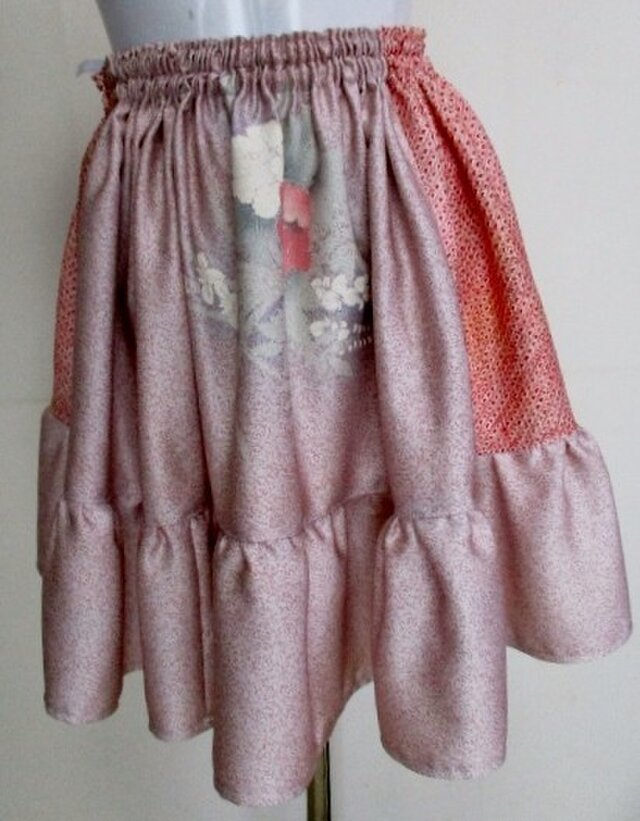 4758 絞りと花柄の振袖で作ったミニスカート #送料無料の画像1枚目