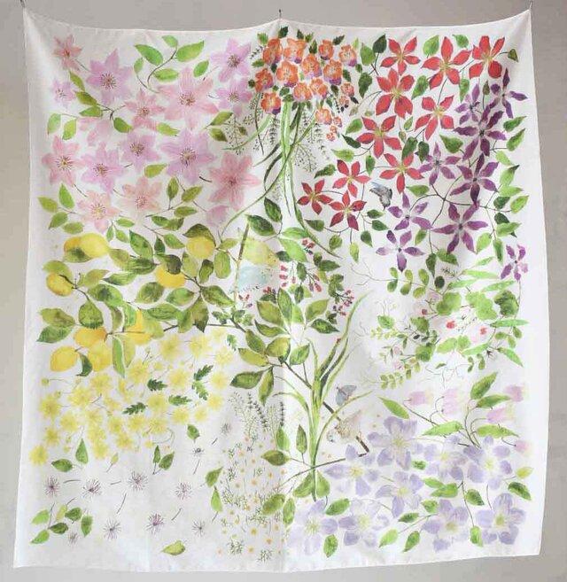 コットンシルクスカーフ「clematis garden」の画像1枚目