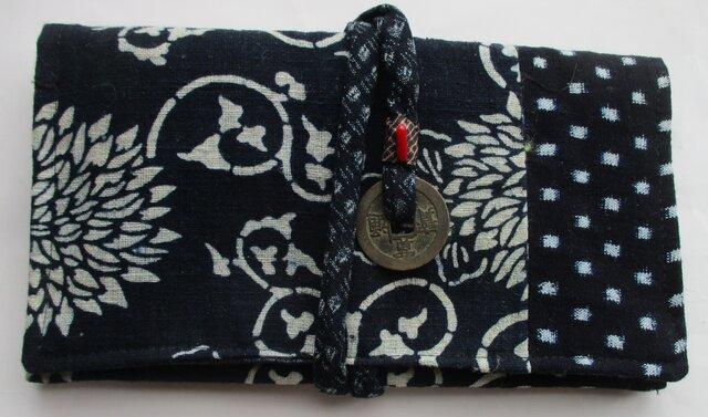 4760 型染めと男絣で作った和風財布・ポーチ #送料無料の画像1枚目