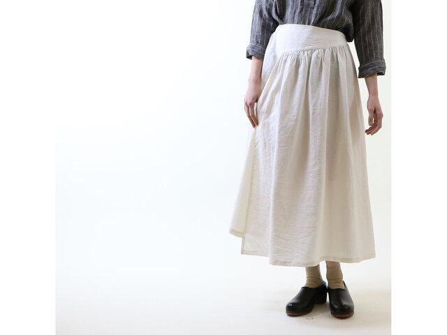 アイリッシュリネン&コットン・イレギュラースカート/オフホワイトの画像1枚目