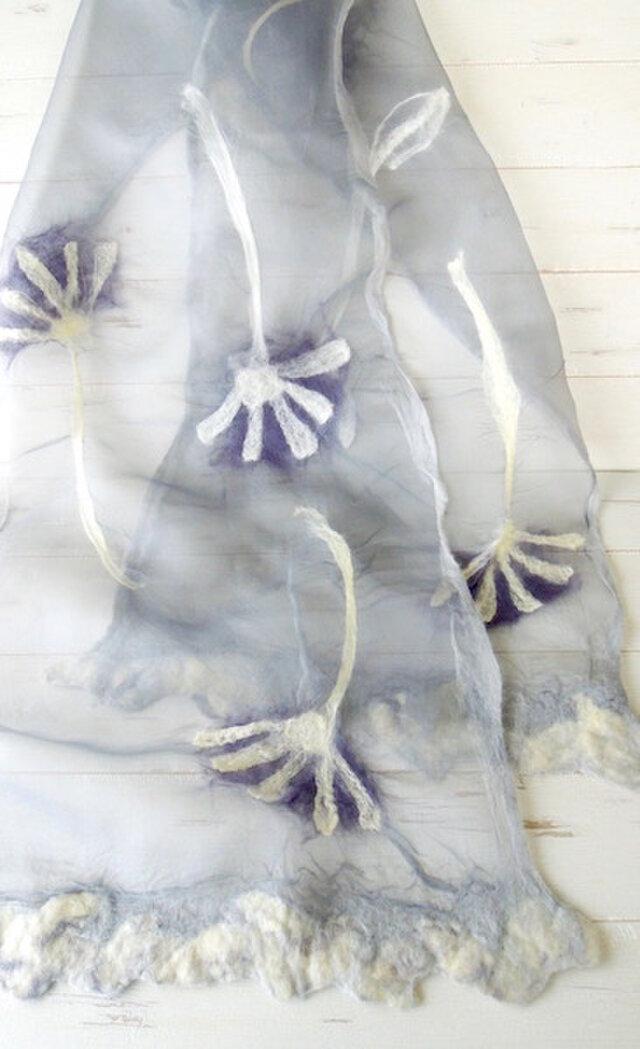 ふんわりシルクと羊毛ストール *ダリア* ライトグレー の画像1枚目