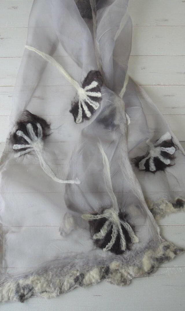 ふんわりシルクと羊毛ストール *ダリア* ココアベージュ の画像1枚目