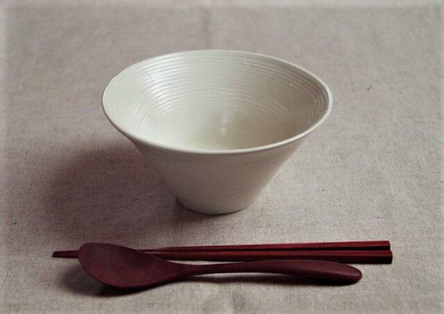 麺鉢 白ボーダーの画像1枚目