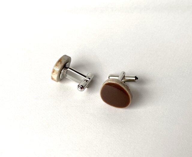 玉石タイルのカフスボタン(茶)の画像1枚目