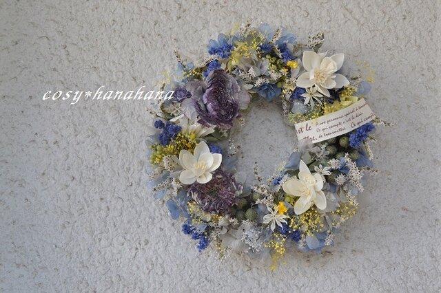 【母の日2020】ファンタジーブルーの花wreathの画像1枚目