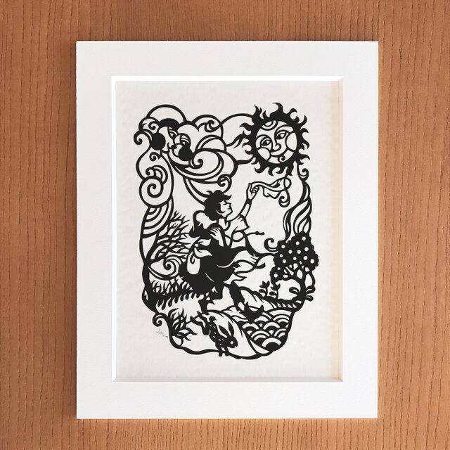 童話の切り絵「北風と太陽」の画像1枚目