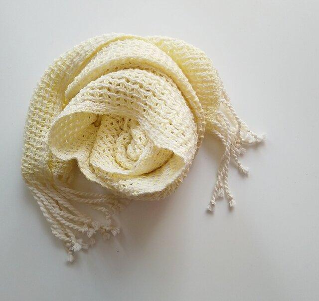UV防止 手織りシルクコットンミニストール レース織り レモンイエロー 923の画像1枚目