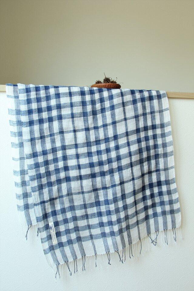 手織り・藍染め リネン大判ストール の画像1枚目