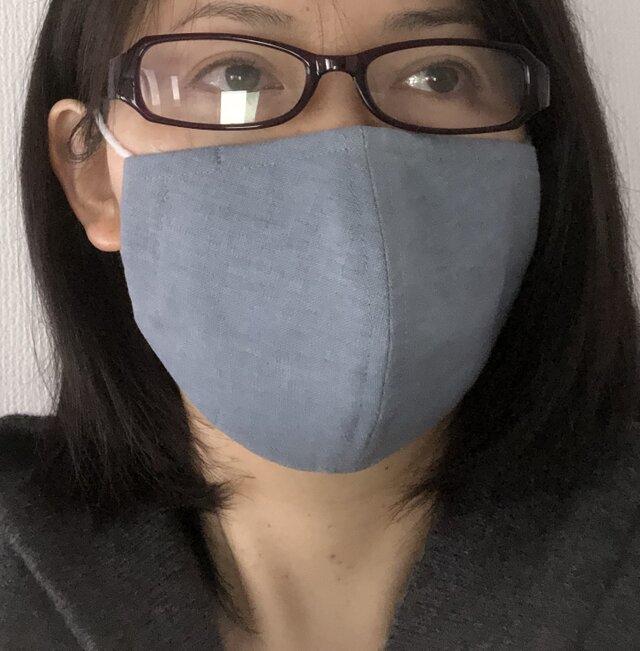 即納可・送料無料・ノーズワイヤー・表リネン、裏ダブルガーゼ・MLサイズ立体マスク・抗菌ダブルガーゼで作った当て布1枚付きの画像1枚目