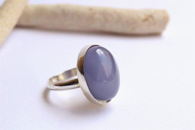 天然色ブルーカルセドニーAAA Silver Ring の画像1枚目