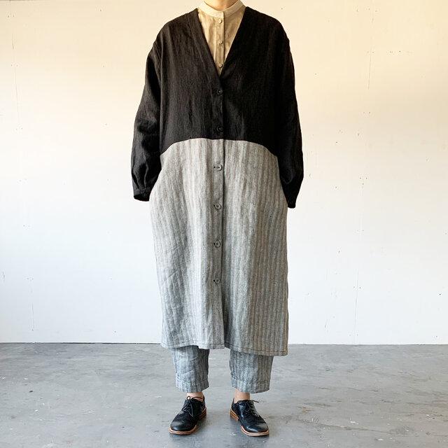 Vacances coat[black × black stripe]の画像1枚目