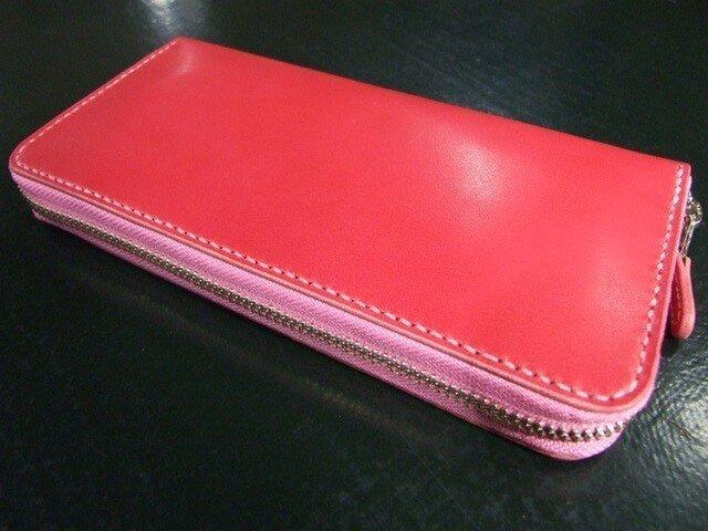 10センチx20センチのピンクのファスナーロングウォレットの画像1枚目