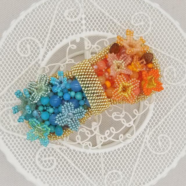バレッタ suger-pop(オレンジ×ミント)の画像1枚目