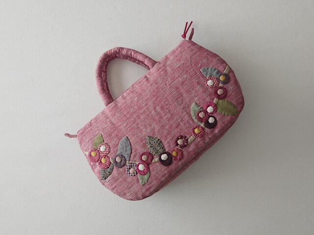 corocoro flower applique bag  (M)の画像1枚目