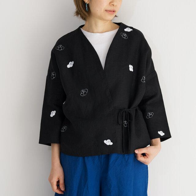 袷のショートジャケット黒 椿の画像1枚目