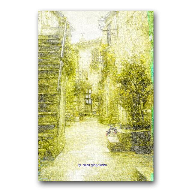 「ひそやかな路地裏」 ほっこり癒しのイラストポストカード2枚組 No.1018の画像1枚目