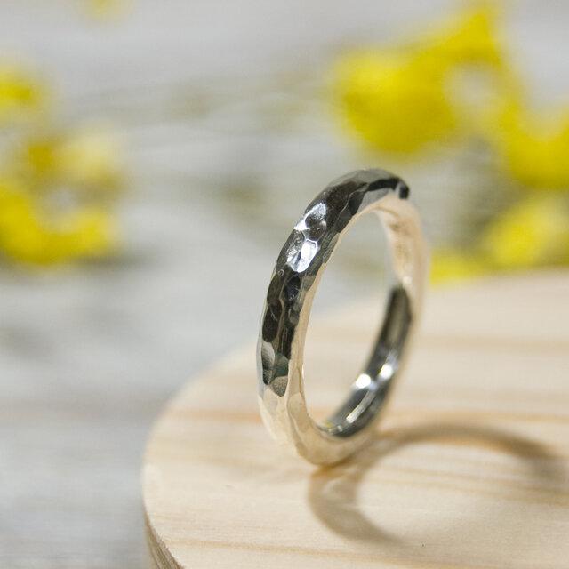 でこぼこ シルバーラウンドプレーンリング 3.0mm幅 鎚目 シルバー950|SILVER RING 指輪 シンプル|222の画像1枚目