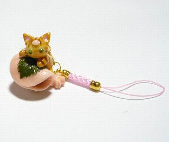にゃんこのしっぽ○桜餅ストラップ〇桜〇茶とら〇猫の画像1枚目