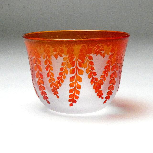 冷茶グラス 藤  紅色 蕨硝子 被せガラスの画像1枚目