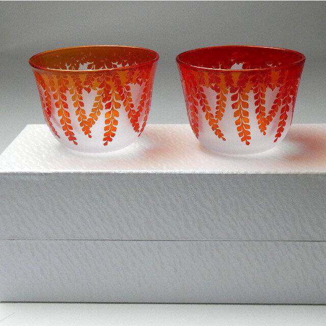 冷茶グラス ペアセット 藤 紅色 蕨硝子 被せガラスの画像1枚目