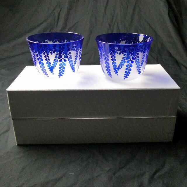 冷茶グラス ペアセット 藤 瑠璃色 蕨硝子 被せガラスの画像1枚目