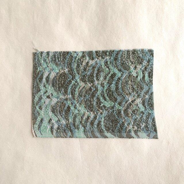 絹手染ハギレ小(9cm×12.5cm 波・水色焦茶)の画像1枚目