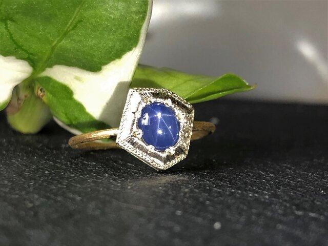 Fragment Star Sapphire ring FMR-7L K18YG*K10WGの画像1枚目