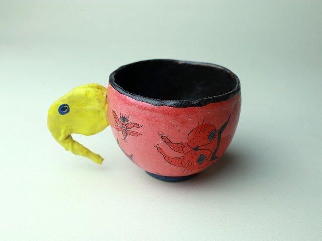 象さんと猫のカップ/陶芸家がつくるマグ/おしゃれで可愛いマグ/ユニークな器/瀬戸黒/色絵付け/マグ集めの画像1枚目