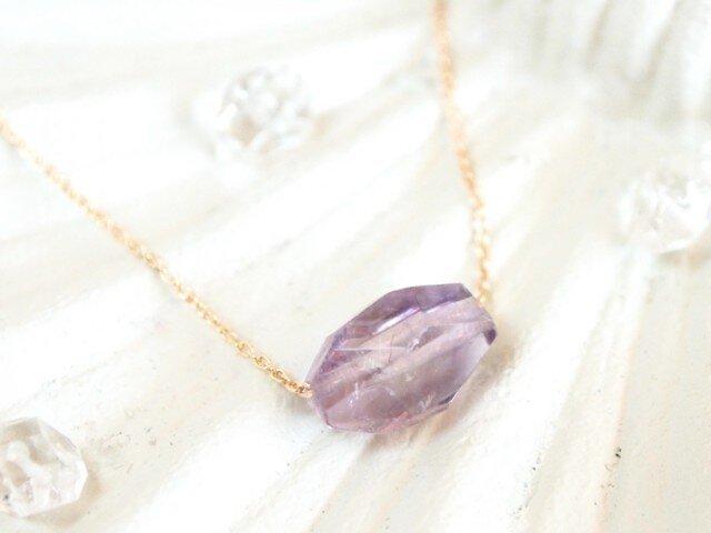 14KGF Pastel Stone Necklace (Amethyst) 【20%OFF】の画像1枚目