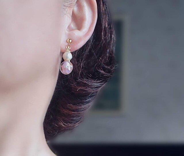 桜色のパールイヤリング(ピアス)の画像1枚目