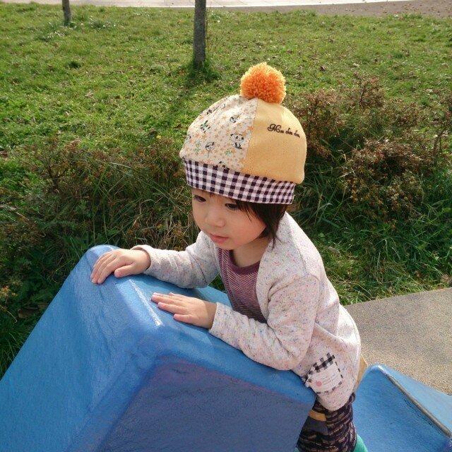 ぼんぼりが可愛い*ニットベレー帽・Lサイズの画像1枚目