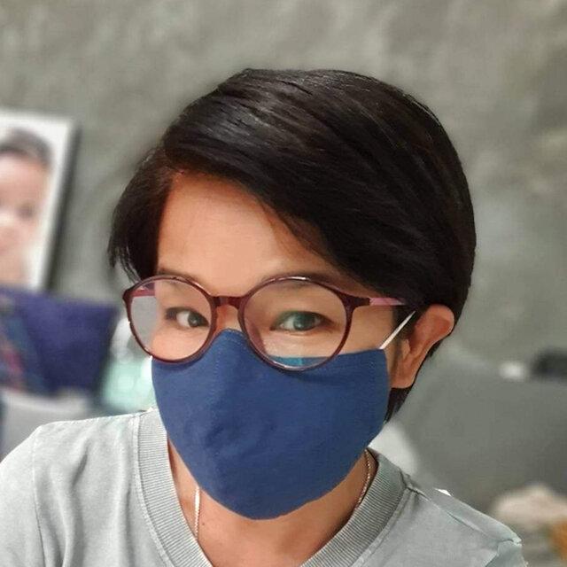 リネン&コットンマスク Sサイズ ネイビー Wガーゼ 子供可の画像1枚目