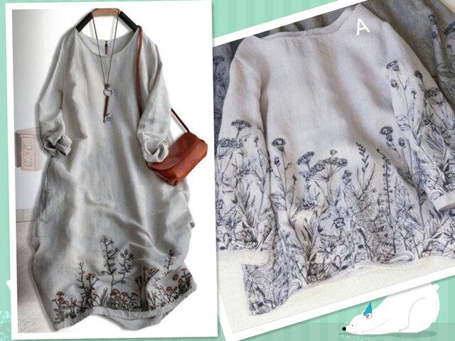 【春の福袋】ゆったり亜麻製刺繍トップス+亜麻製刺繍ワンピース 2点セットの福袋の画像1枚目