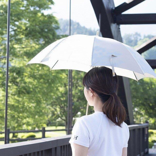 【晴雨兼用 ショート傘】 こもれび ブナ ライトブルーの画像1枚目