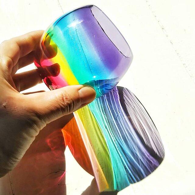 虹色のまんまるグラス  パープルリップ✱ご注文前にメッセージをお願いしますの画像1枚目