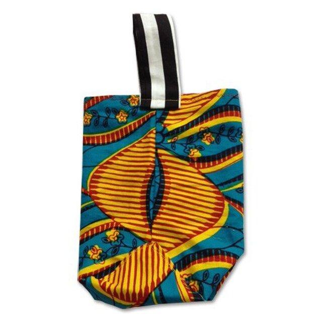 アフリカン花×ストライプ ミニバッグの画像1枚目