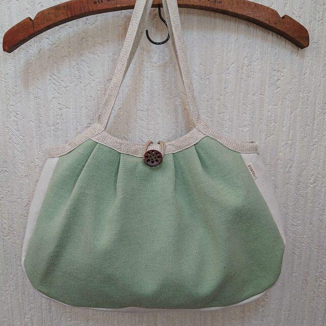 草木染 麻キャンバスのグラニーバッグ 緑の画像1枚目
