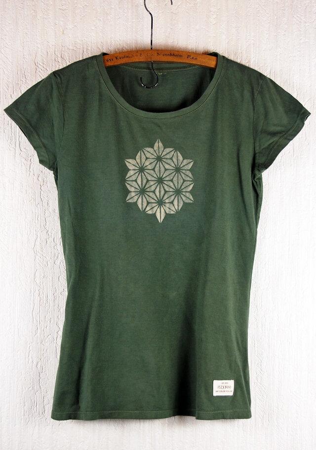 草木染 バンブー/オーガニックコットンのTシャツ  麻の葉 深緑 レディースMサイズの画像1枚目