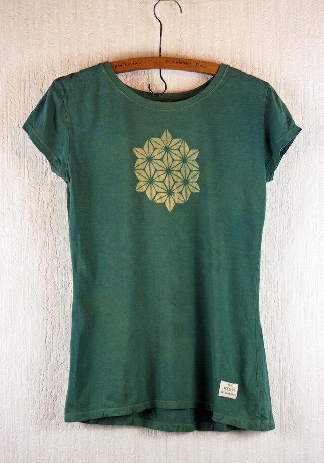 草木染 バンブー/オーガニックコットンのTシャツ  麻の葉 緑 レディースMサイズの画像1枚目
