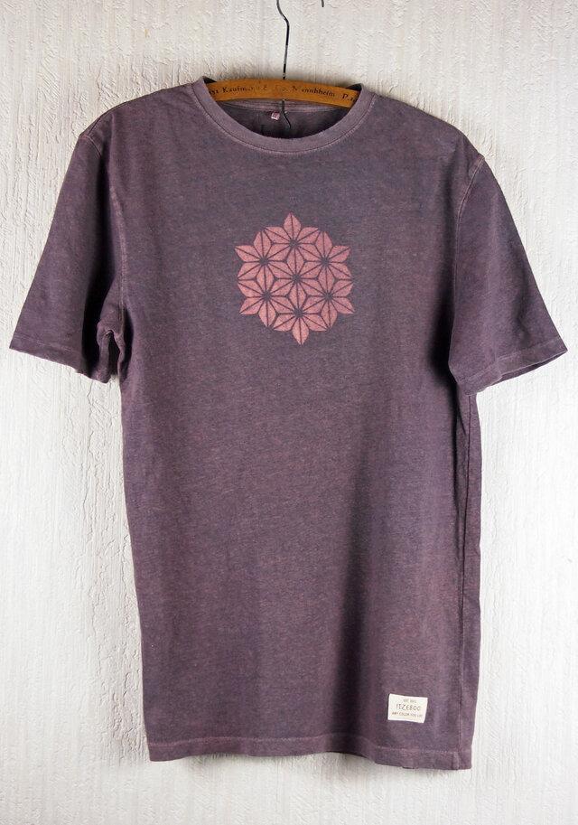 草木染 ヘンプ/オーガニックコットンのTシャツ  麻の葉 紫 メンズMサイズの画像1枚目